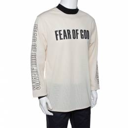 Fear Of God Fifth Collection Cream Motocross Mesh Long Sleeve T Shirt M 291642