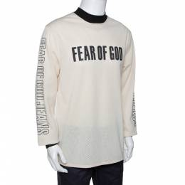 Fear Of God Fifth Collection Cream Motocross Mesh Long Sleeve T Shirt S 291644