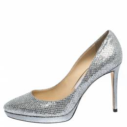 Jimmy Choo Silver Glitter Fabric And Lizard Embossed Leather Hope Platform Pumps Size 38.5 291847