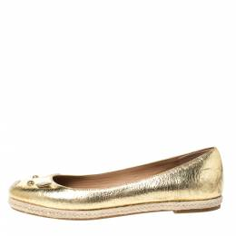 Marc by Marc Jacobs Gold Textured Leather Mouse Espadrille Flats Size 38.5 292234