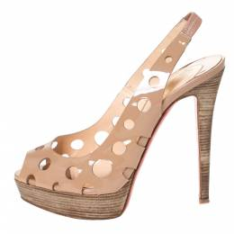 Christian Louboutin Beige Patent Leather Ginza Platform Slingback Sandals Size 39 294541