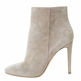 Gianvito Rossi Grey Suede Round Toe Ankle Boots Size 40.5 293792