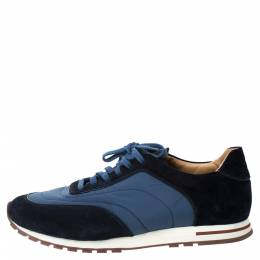 Loro Piana Blue Suede And Nylon Low Top Sneakers Size 44 294272