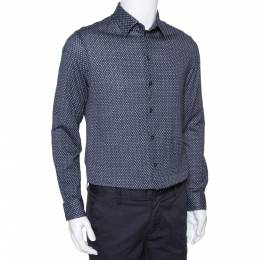 Armani Collezioni Navy Blue Printed Cotton Knit Long Sleeve Shirt L 294249