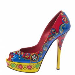 Dolce and Gabbana Multicolor Carretto Siciliano Print Patent Peep Toe Platform Pumps Size 38 294736