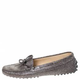 Tod's Grey/Silver Glitter Leather Bow Detail Driving Loafers Size 37.5 Tod's 294875
