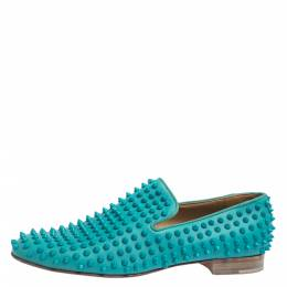 Christian Louboutin Blue Leather Rolling Spikes Loafers Size 41.5 294897