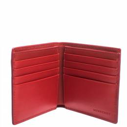 Burberry Red Perforated Leather Bill Bifold Wallet 295198