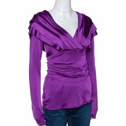 Christian Dior Jersey Pleated Crossover Long Sleeve Top M 294330