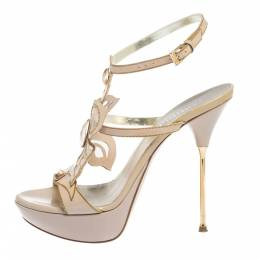 Loriblu Pink Patent Leather Crystal And Chain Embellished Cut Out Platform Sandals Size 37 294949