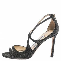 Jimmy Choo Black Glitter Suede And PVC Strappy Sandals Size 37 295085