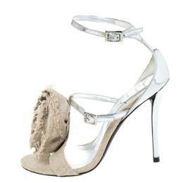Roger Vivier Silver Leather And Canvas Rose Effiloche Sin Ankle Strap Sandals Size 37 294501