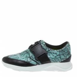Christopher Kane Black/Blue Lace Print Leather Safety Buckle Low Top Sneakers Size 36.5 295214
