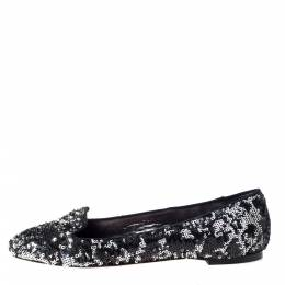 Dolce and Gabbana Two Tone Sequins Embellished Smoking Slippers Size 40 295827