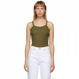 Re/done Green Hanes Edition Ribbed Tank Top R24-2WTK1