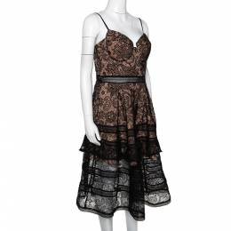 Self-Portrait Black Paisley Lace Sleeveless Bustier Dress L 295759