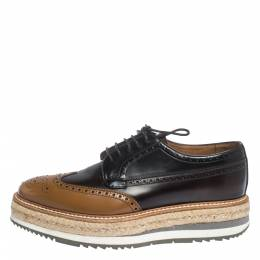 Prada Brown Brogue Leather Derby Espadrille Sneakers Size 39 295992
