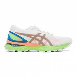 Asics White and Green Gel-Nimbus 22 Lite-Show Sneakers 1011A890