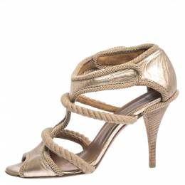 Pierre Hardy Gold Leather And Beige Rope Caged Sandals Size 40 296401