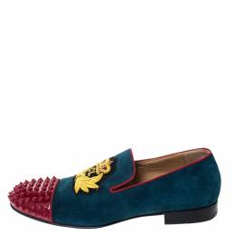 Christian Louboutin Blue/Red Suede And Patent Spiked Cap Toe Harvanana Smoking Slippers Size 40 296250