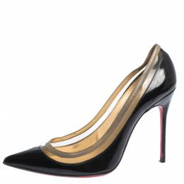 Christian Louboutin Black Patent Leather and PVC Paulina Pointed Toe Pumps Size 36.5 350450