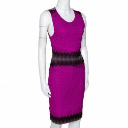 Missoni Purple Crochet Knit Sleeveless Fitted Dress S 296573