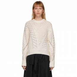 3.1 Phillip Lim White Wool Cable Knit Sweater P202-7321COC