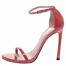 Stuart Weitzman Coral Pink Patent Leather Ankle Strap Sandals Size 38.5 297164