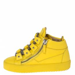 Giuseppe Zanotti Yellow Leather Gold Chain Laces Dual Zip Sneakers Size 35 297226