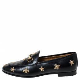 Gucci Black Leather Jordaan Embroidered Bee Horsebit Slip On Loafers Size 39 297509