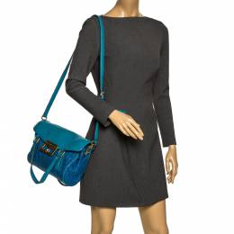 Marc by Marc Jacobs Two Tone Blue Raffia and Leather Turnlock Flap Shoulder Bag 297407