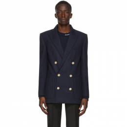 Balmain Navy Wool Twill Double-Breasted Blazer UH17008W079