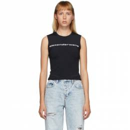 T by Alexander Wang Reversible Black Fitted Logo Tank Top 4CC2201120