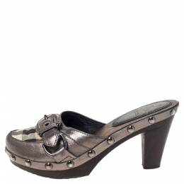Burberry Metallic Leather And Check Canvas Studded Buckle Detail Clogs Sandals Size 36 407683