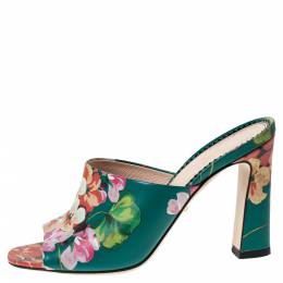 Gucci Multicolor Bloom Print Leather Shanghai Open Mules Size 36 297525