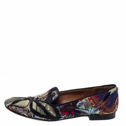 Valentino Black Embroidered Canvas Smoking Slippers Size 38 299664