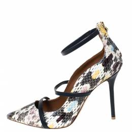 Malone Souliers Multicolor Python Robyn Ankle Strap Pumps Size 37 299470