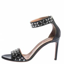 Alaia Black Studded Leather Open Toe Ankle Cuff Sandals Size 38.5 299804