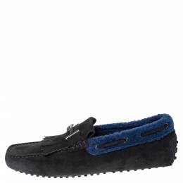 Tod's Black Suede Leather And Shearling Double T Fringe Slip On Loafers Size 42 299973