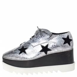 Stella Mccartney	 Metallic Silver Python Effect Faux Leather And Faux Fur Elyse Star Platform Derby Size 41 299956