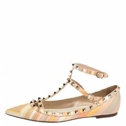 Valentino Multicolor Native Couture 1975 Print Leather Rockstud Pointed Toe Ballet Flats Size 39.5 300207
