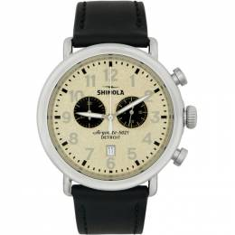 Silver and Off-White The Runwell Chrono 47mm Watch Shinola S0120161939