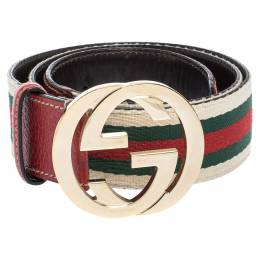 Gucci Red Web Canvas and Leather Interlocking GG Buckle Belt 80CM 300475