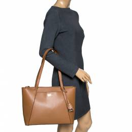 Michael Kors Tan Leather Maddie East/West Top Zip Tote 301139