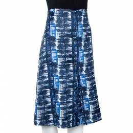 Oscar de la Renta Blue & White Jacquard Patterned A-Line Skirt L 301603