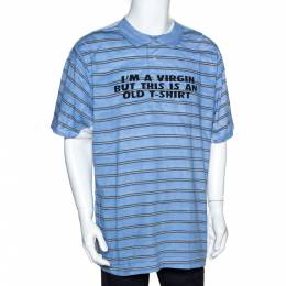 Vetements Blue & Red Screwed Graphic Print Cotton Oversized T-Shirt S 301301