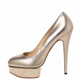 Charlotte Olympia Metallic Gold Leather Dolly Platform Pumps Size 39.5 302344