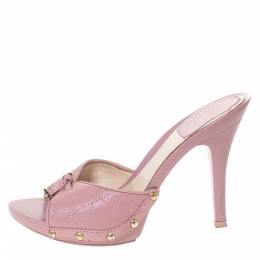 Dior Pink Cannage Leather Platform Open Toe Sandals Size 35 301638