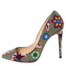 Christian Louboutin Multicolor Floral Beaded Fabric Miss Taos Pumps Size 37 302307