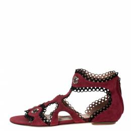 Alaia Maroon Suede Scallop Trim Eyelet Embellished Ankle Cuff Flat Sandals Size 40 302565